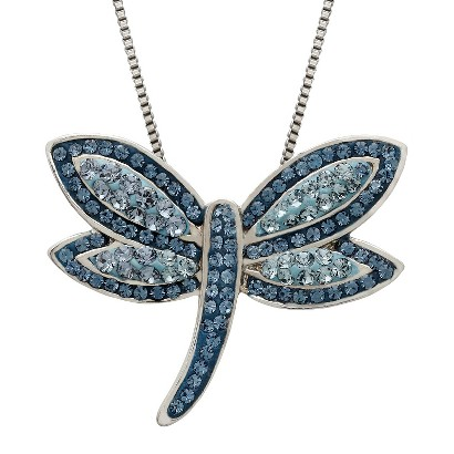 "Blue Dragonfly Swarovski Elements Pendant in Sterling Silver (18"")"