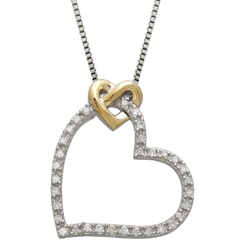 0.08 CT. T.W. Diamond LoveKnot Heart Pendant in 14K Yellow Gold and Sterling Silver