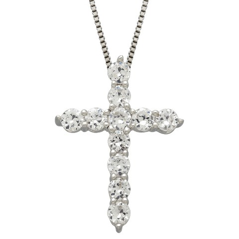 "Created White Sapphire Cross Pendant in Sterling Silver (18"")"