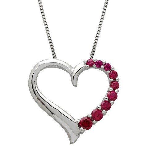"""Created Ruby Heart Pendant In Sterling Silver (18"""")"""