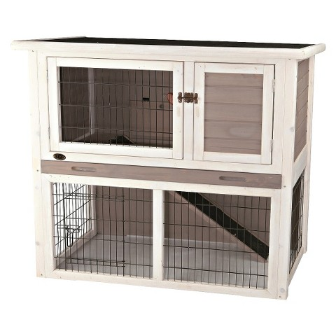Rabbit Hutch with Sloped Roof - gray/white - Medium
