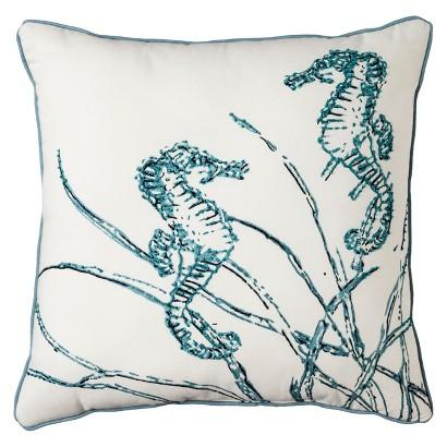 "Threshold Beaded Seahorse Toss Pillow - Cream/Blue (18x18"")"
