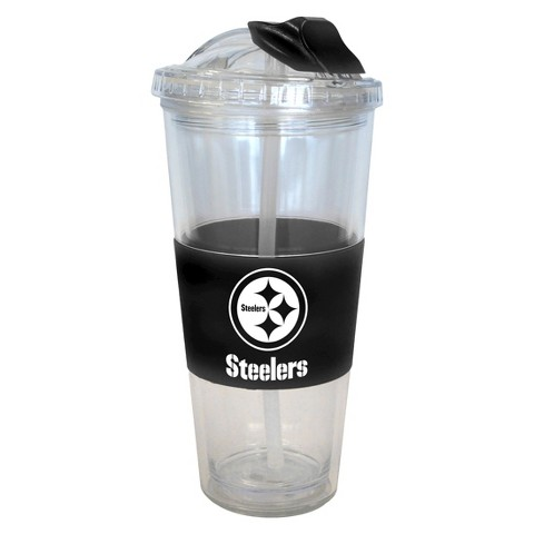 Pittsburgh Steelers Boelter Brands 2 Pack No Spill Tumbler with Straw 22 oz