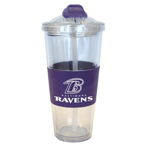 Baltimore Ravens Boelter Brands 2 Pack No Spill Tumbler with Straw 22 oz
