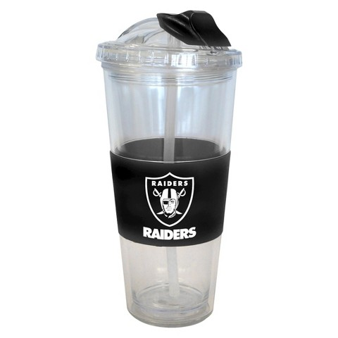Oakland Raiders Boelter Brands 2 Pack No Spill Tumbler with Straw 22 oz