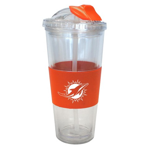 Miami Dolphins Boelter Brands 2 Pack No Spill Tumbler with Straw 22 oz