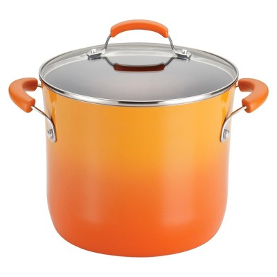 Rachael Ray Hard Enamel Aluminum Nonstick 8-Quart Covered Stockpot, Orange Gradient