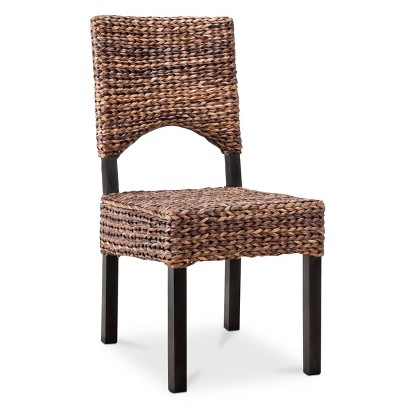 Andres Seagrass Open Back Dining Chair - Espresso
