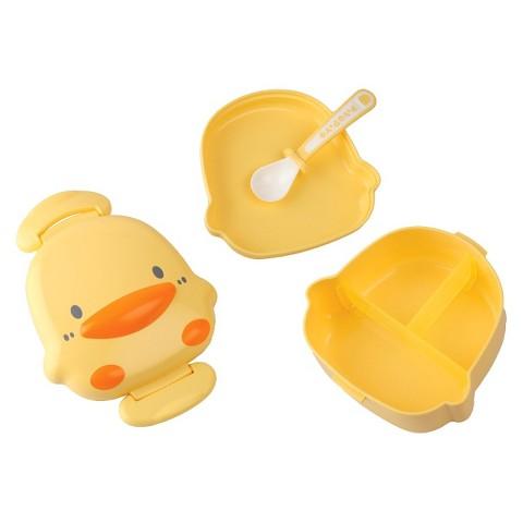 Piyo Piyo Travel Lunch Box with Plate & Spoon - Yellow