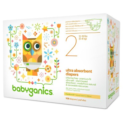 Babyganics Ultra Absorbent Disposable Diapers Value Pack - Size 2  (108 Count)