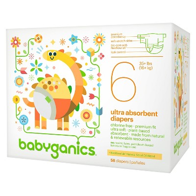 Babyganics Ultra Absorbent Disposable Diapers Value Pack - Size 6  (58 Count)