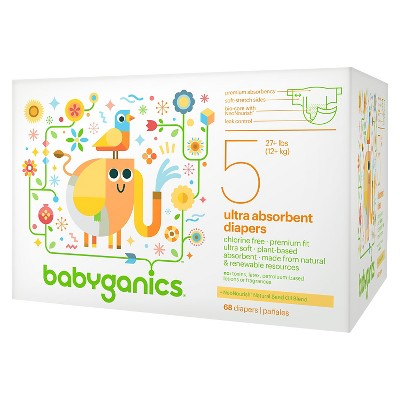 Babyganics Ultra Absorbent Disposable Diapers Value Pack - Size 5  (68 Count)