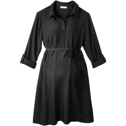 Maternity Rolled Sleeve Shirt Dress
