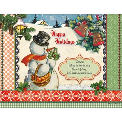 18ct Christmas Card Pack - Happy Holidays Snowman