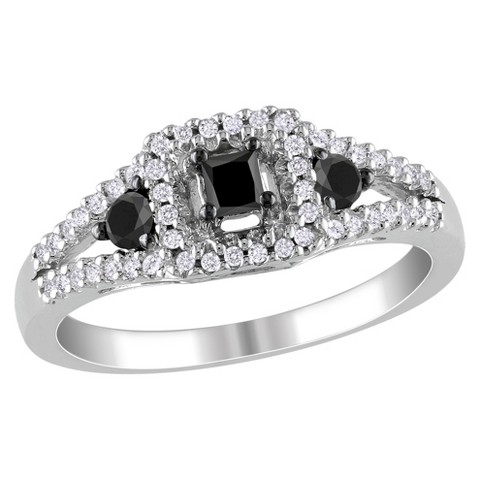 1 CT. T.W. Black and White Diamonds Cocktail Ring in Sterling Silver Cocktail Ring