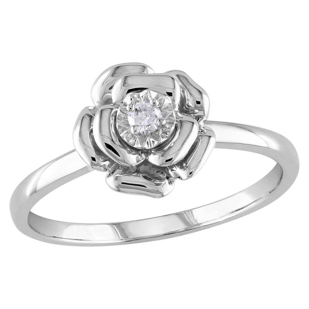 Allura 0.05 CT. T.W. Diamond Flower Cocktail Ring - Silver (8), Size: 9, Multicolor