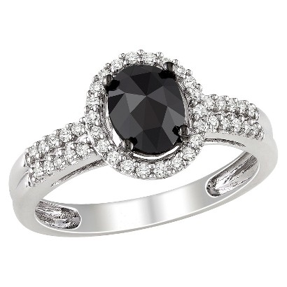 1 CT. T.W. Black and White Diamonds in 14K White Gold Cocktail Ring