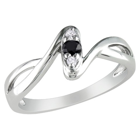 1/10 CT. T.W. Black and White Diamond Cocktail Ring - Silver