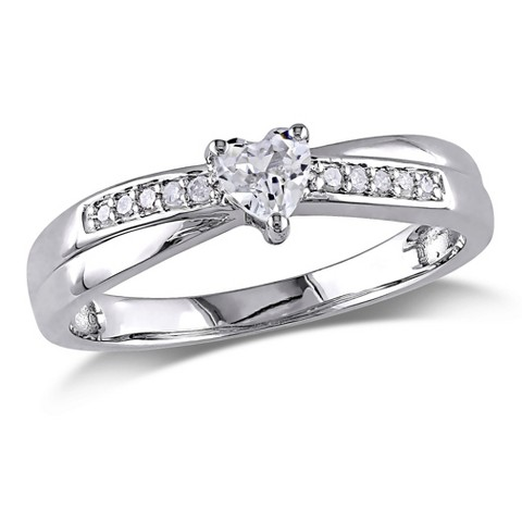0.05 CT. T.W. Diamond and White Sapphire Cocktail Ring - Silver