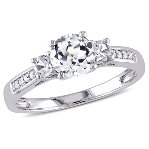 0.05 CT. T.W. Diamond and White Sapphire 3 Stone in 10K White Gold Ring