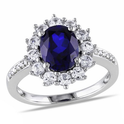 0.05 CT. T.W. Diamond Blue and White Sapphire Cocktail Ring - Silver