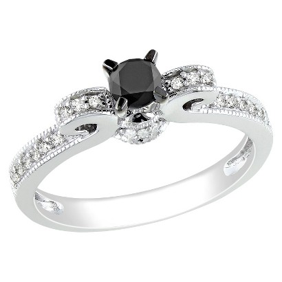 1/2 CT. T.W. Black and White Diamond in 10K White Gold Cocktail Ring