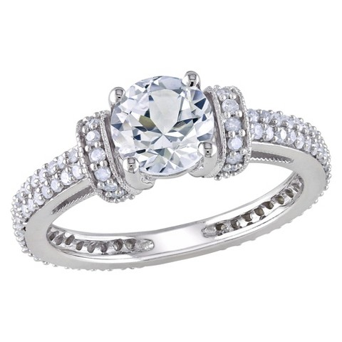 1/2 CT. T.W. Diamond And White Sapphire Engagement Ring in 10K White Gold