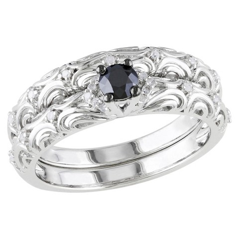 1/3 CT. T.W. Black and White Diamond Engagement Ring - Silver