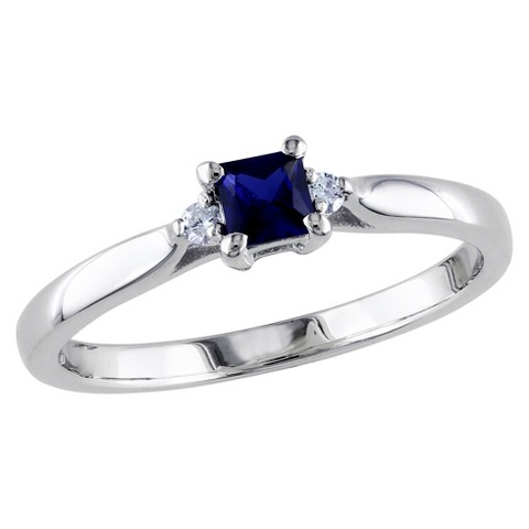 0.04 CT. T.W. Diamond And Blue Sapphire Cocktail Ring in Sterling Silver