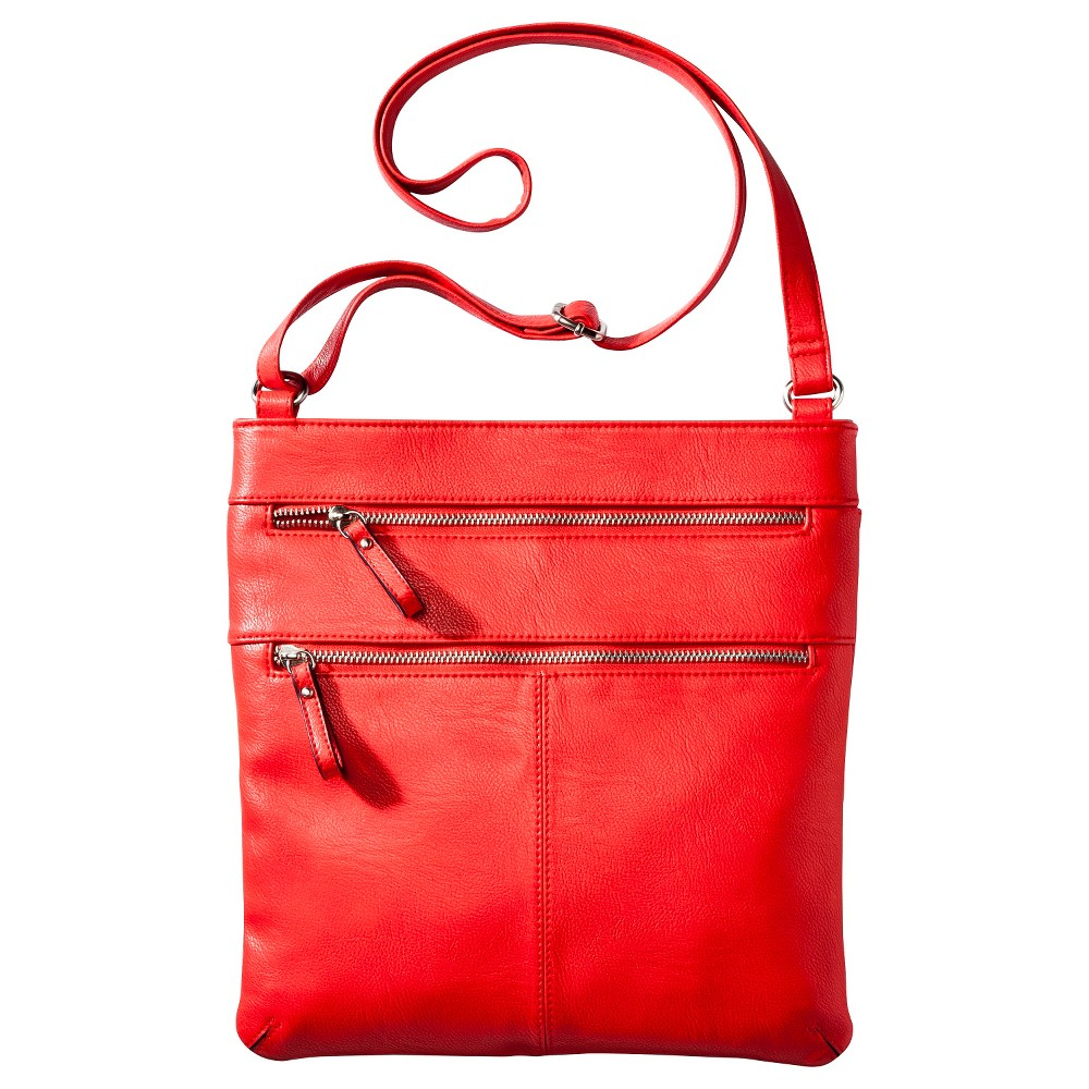 Merona Crossbody Handbag with Zipper Detail - Coral, Red