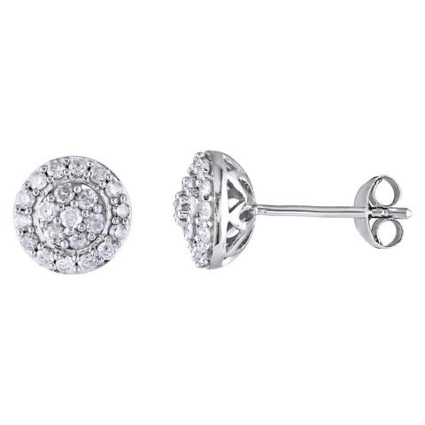 1/2 CT. T.W. Diamond Silver Earrings - Silver