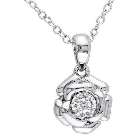 Allura 0.05 CT. T.W. Diamond Flower Silver Pendant with Chain - Silver