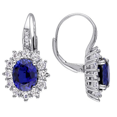 0.04 CT. T.W. Diamond Blue And White Sapphire Silver Earrings - Silver