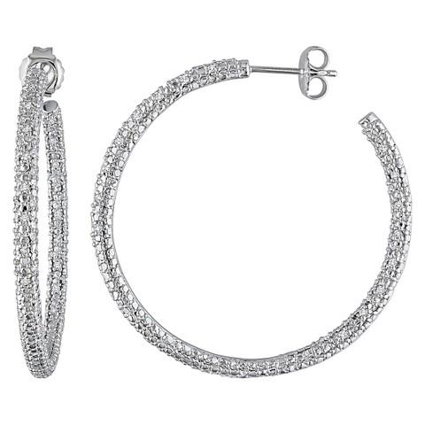1/2 CT. T.W. Diamond Hoop Silver Earrings - Silver