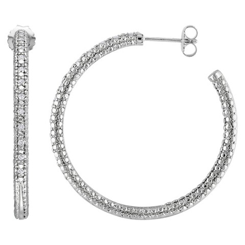 1/4 CT. T.W. Diamond Hoop Silver Earrings - Silver