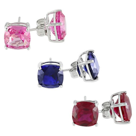 12 CT. T.W. Created Sapphire/Ruby Stud Earrings in Sterling Silver Set of 3