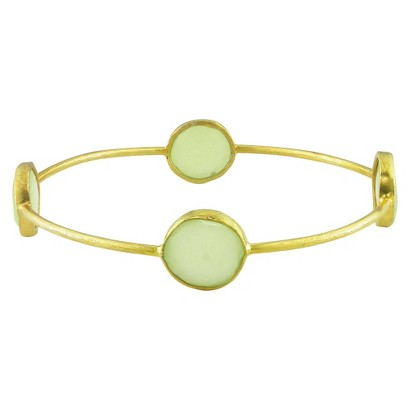 22K Gold Plated Brass 13mm Green Chalcedony Bangle