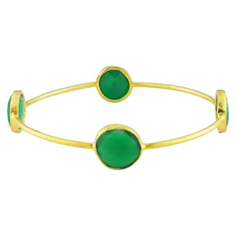 Allura 13mm Green Onyx Bangle in 22K Gold Plated Brass