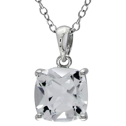 Solitaire White Topaz Silver Pendant with Chain - Silver