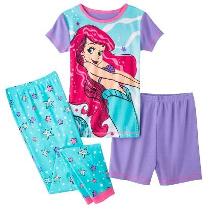 Disney® Princess Girls' 3-Piece Short-Sleeve Ariel Pajama Set