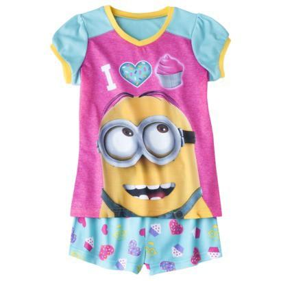 Despicable Me Girls' 2-Piece Short-Sleeve Pajama Set - Blue/Pink