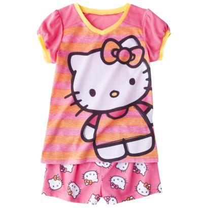 Hello Kitty Girls' 2-Piece Short-Sleeve Pajama Set