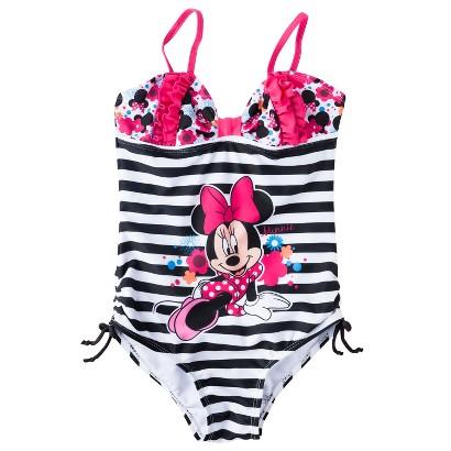 Disney® Minnie Mouse Girls' 1-Piece Stripe Swimsuit