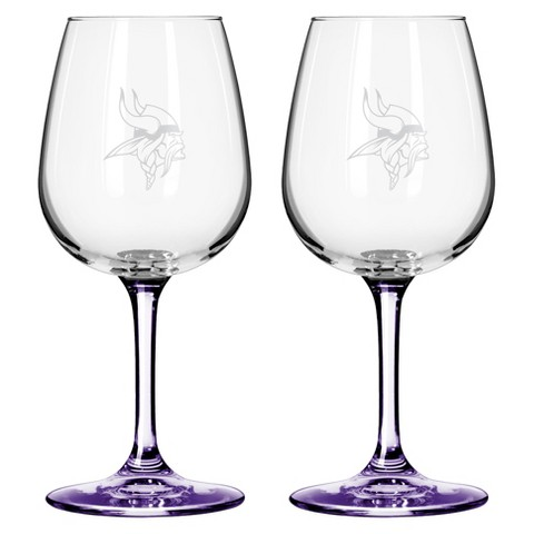 Boelter Brands Minnesota Vikings 2 Pack Wine Glass 12 oz