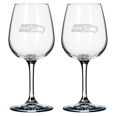 Boelter Brands Seattle Seahawks 2 Pack Wine Glass 12 oz