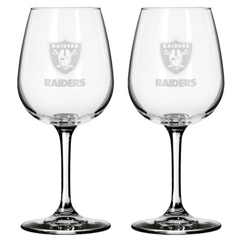 Boelter Brands Oakland Raiders 2 Pack Wine Glass 12 oz