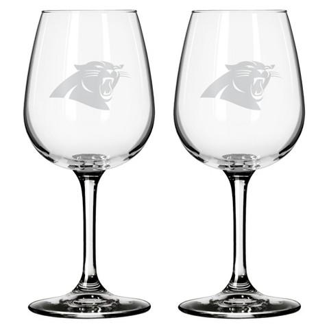 Boelter Brands Carolina Panthers 2 Pack Wine Glass 12 oz