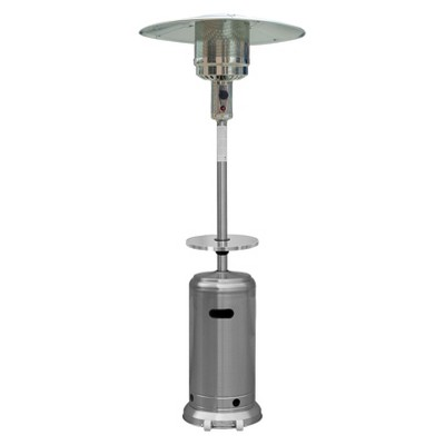 "87"" Tall Stainless Steel Patio Heater with Table"