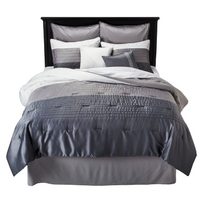 Glam Stripe 8 Piece Comforter Set - Silver (Queen)