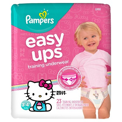 Pampers Easy Ups Girls Training Pants Jumbo Pack, Size 3T-4T (23 Count)